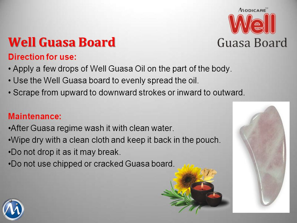 Well Guasa Board Direction for use: