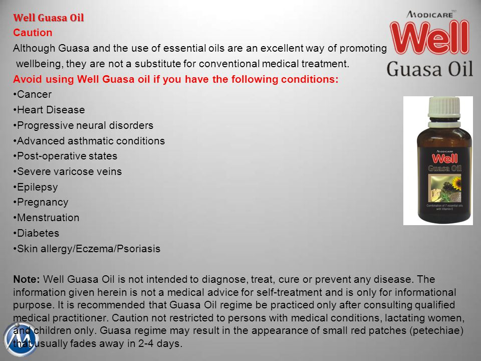 Well Guasa Oil Caution. Although Guasa and the use of essential oils are an excellent way of promoting.