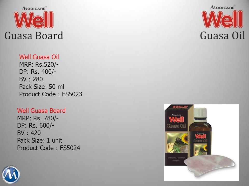 Well Guasa Oil MRP: Rs.520/- DP: Rs. 400/- BV : 280. Pack Size: 50 ml. Product Code : FS5023. Well Guasa Board.