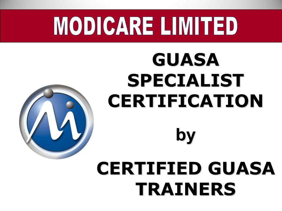 SPECIALIST CERTIFICATION CERTIFIED GUASA TRAINERS
