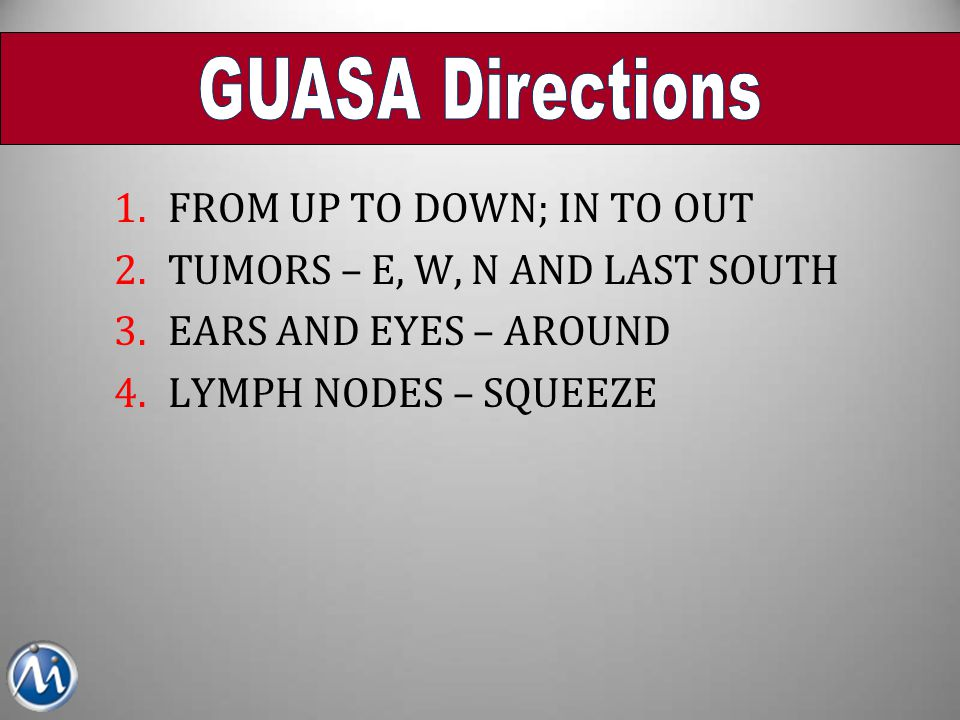 GUASA Directions FROM UP TO DOWN; IN TO OUT