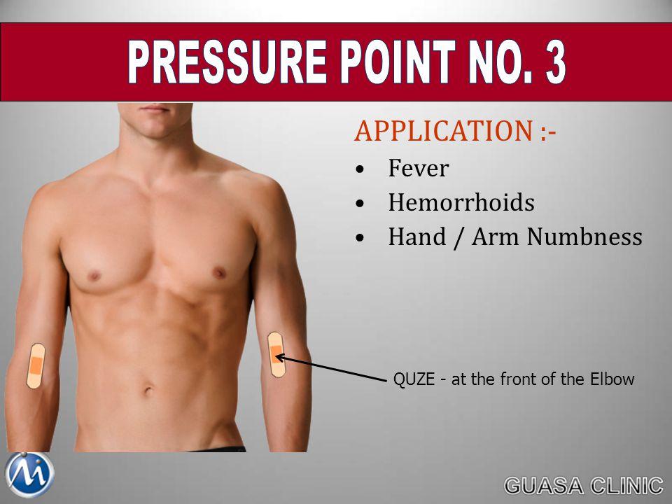 PRESSURE POINT NO. 3 APPLICATION :- Fever Hemorrhoids