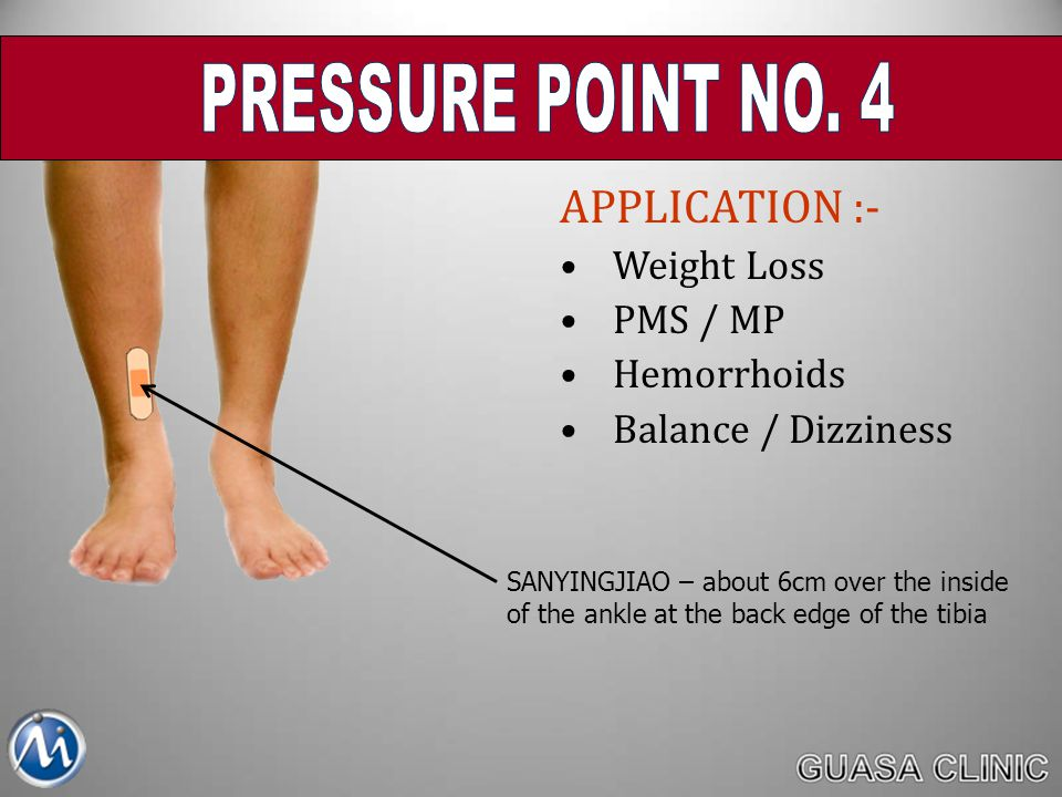 PRESSURE POINT NO. 4 APPLICATION :- Weight Loss PMS / MP Hemorrhoids