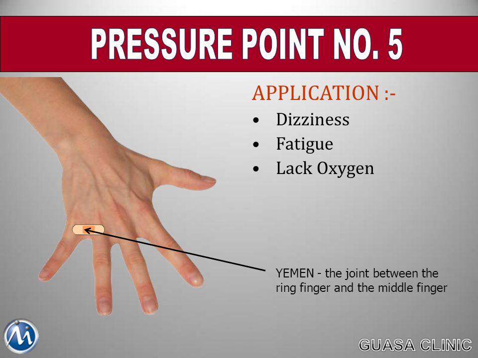 PRESSURE POINT NO. 5 APPLICATION :- Dizziness Fatigue Lack Oxygen