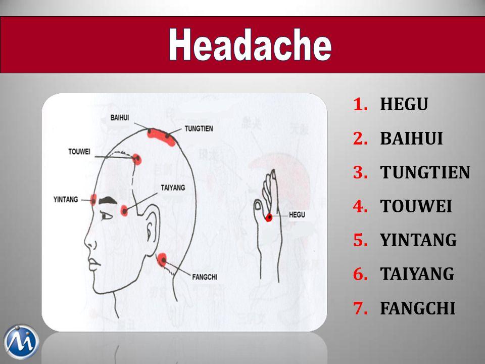Headache HEGU BAIHUI TUNGTIEN TOUWEI YINTANG TAIYANG FANGCHI