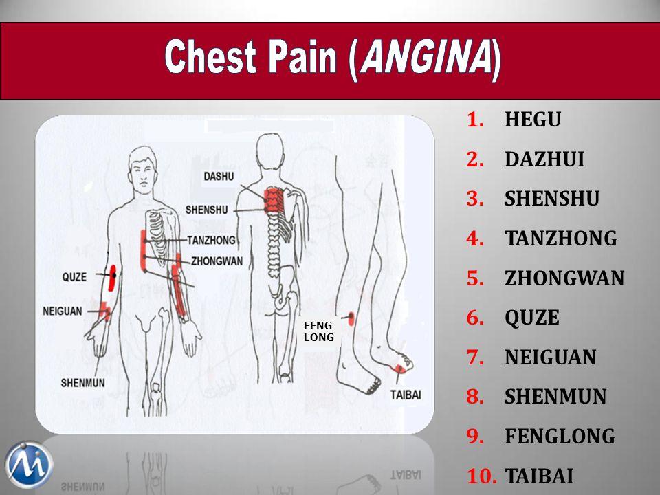 Chest Pain (ANGINA) HEGU DAZHUI SHENSHU TANZHONG ZHONGWAN QUZE NEIGUAN