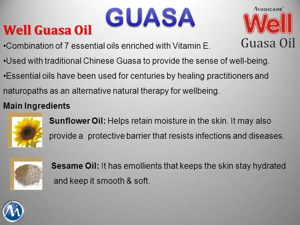 Well Guasa Oil Combination of 7 essential oils enriched with Vitamin E. Used with traditional Chinese Guasa to provide the sense of well-being.