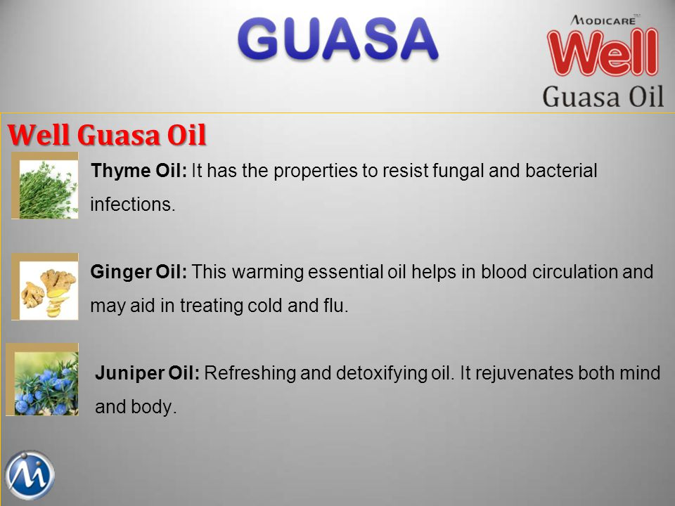 Well Guasa Oil Thyme Oil: It has the properties to resist fungal and bacterial. infections.