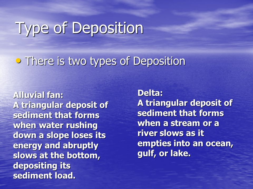 Type of Deposition There is two types of Deposition Delta: