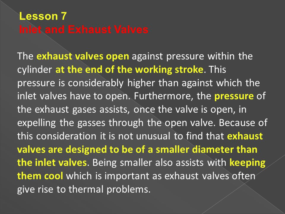 Lesson 7 Inlet and Exhaust Valves