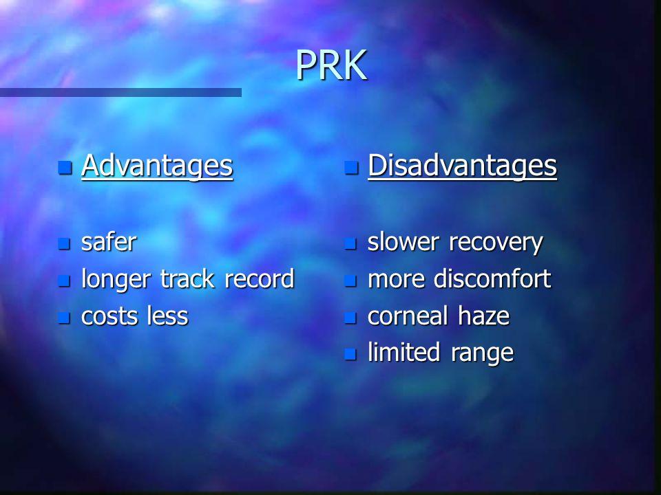 PRK Advantages Disadvantages safer longer track record costs less