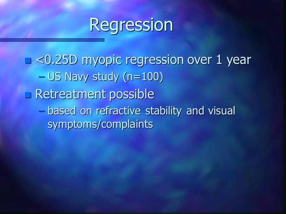Regression <0.25D myopic regression over 1 year