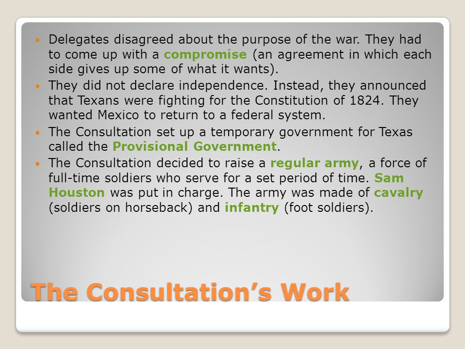 The Consultation's Work