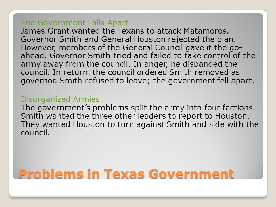 Problems in Texas Government