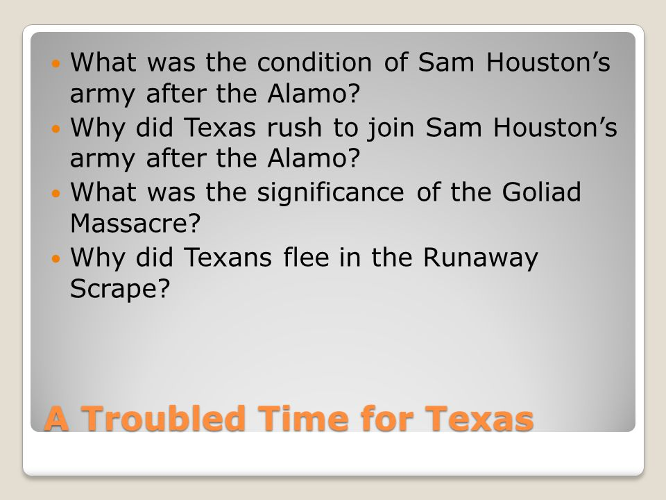 A Troubled Time for Texas