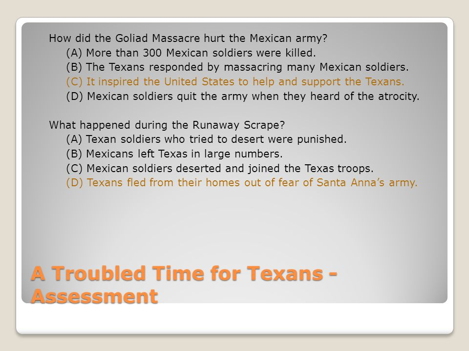 A Troubled Time for Texans - Assessment