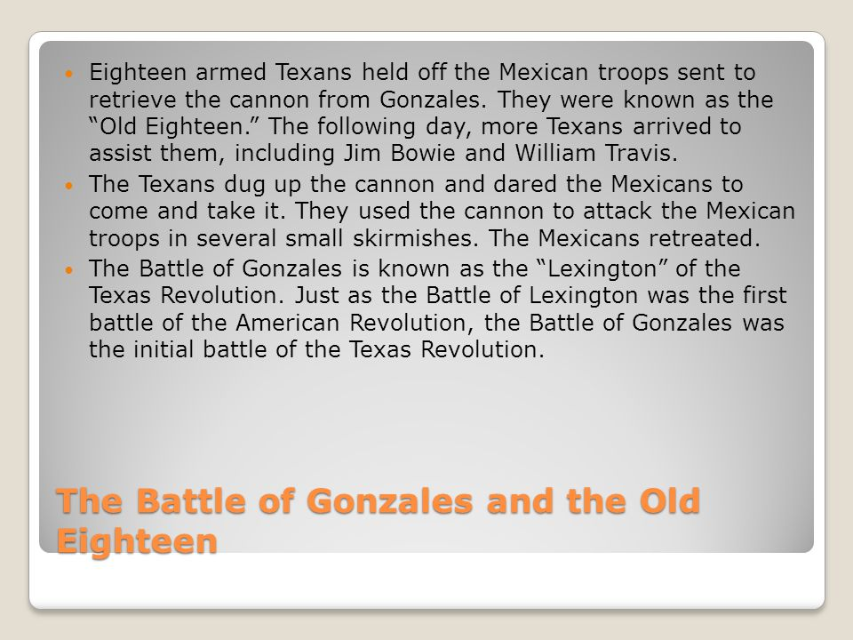 The Battle of Gonzales and the Old Eighteen