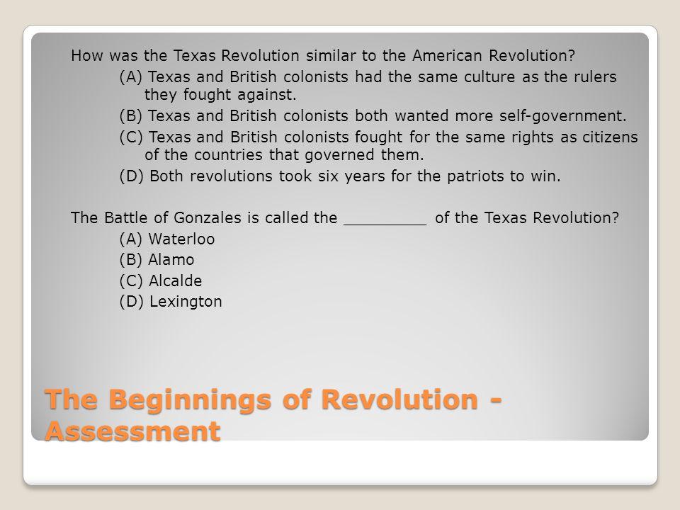 The Beginnings of Revolution - Assessment