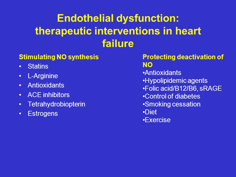 Endothelial dysfunction: therapeutic interventions in heart failure