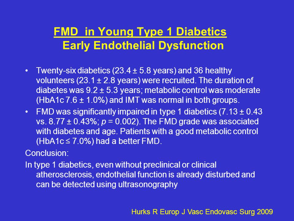 FMD in Young Type 1 Diabetics Early Endothelial Dysfunction