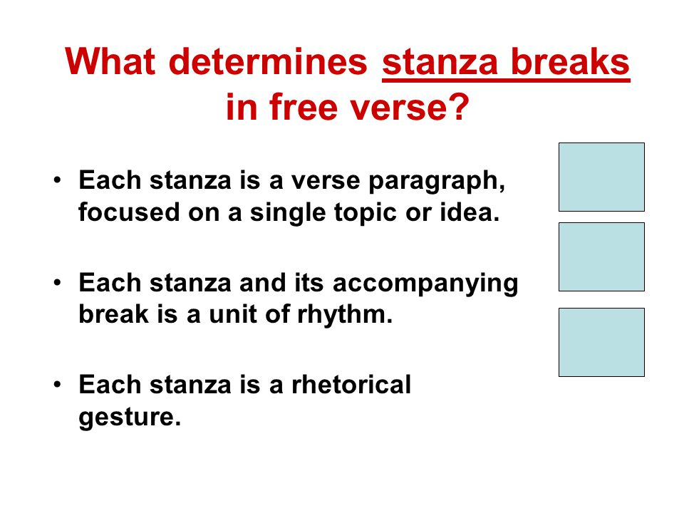 What determines stanza breaks in free verse