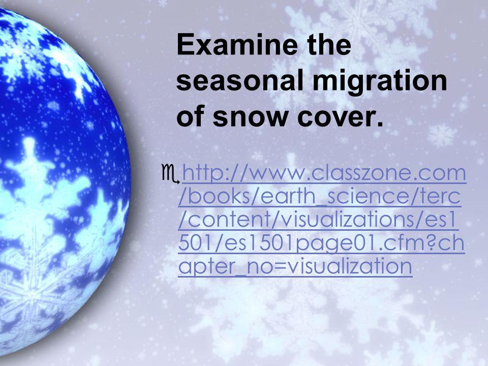 Examine the seasonal migration of snow cover.