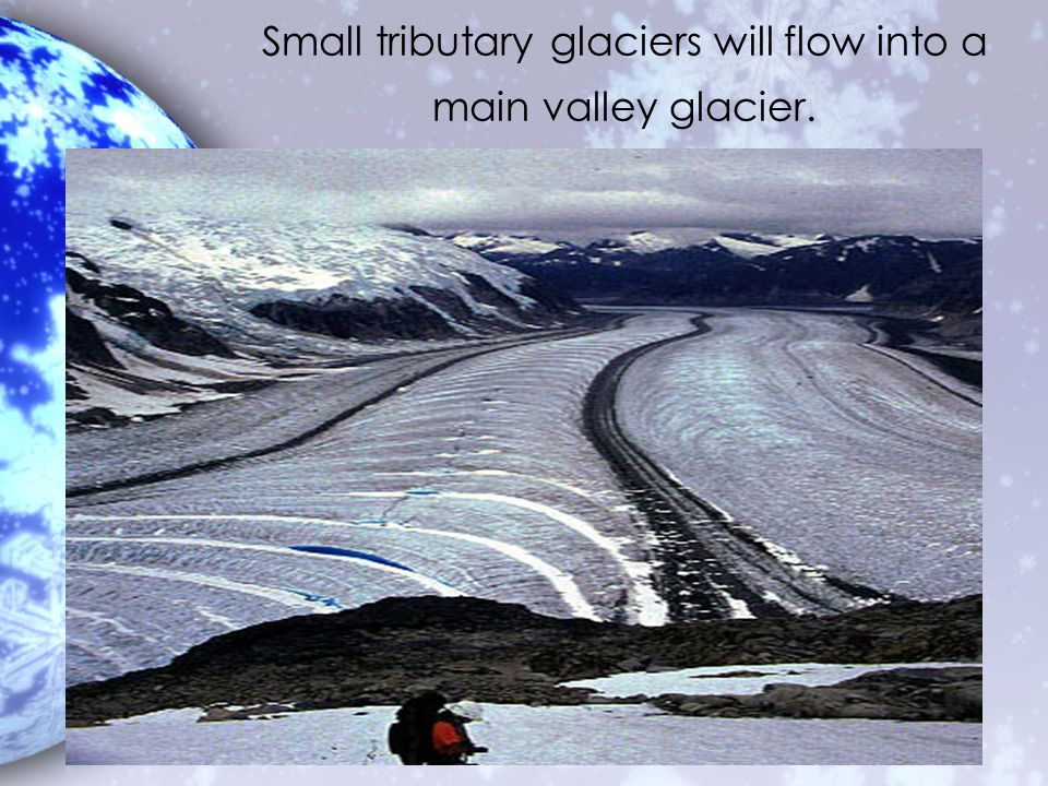 Small tributary glaciers will flow into a main valley glacier.