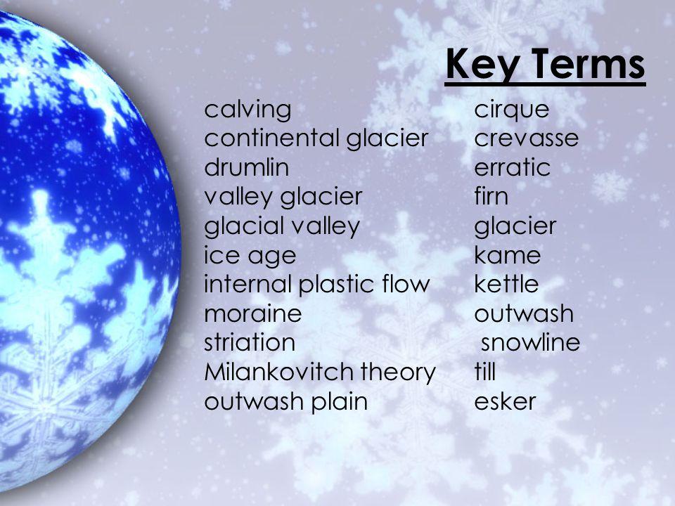 Key Terms calving cirque continental glacier crevasse drumlin erratic