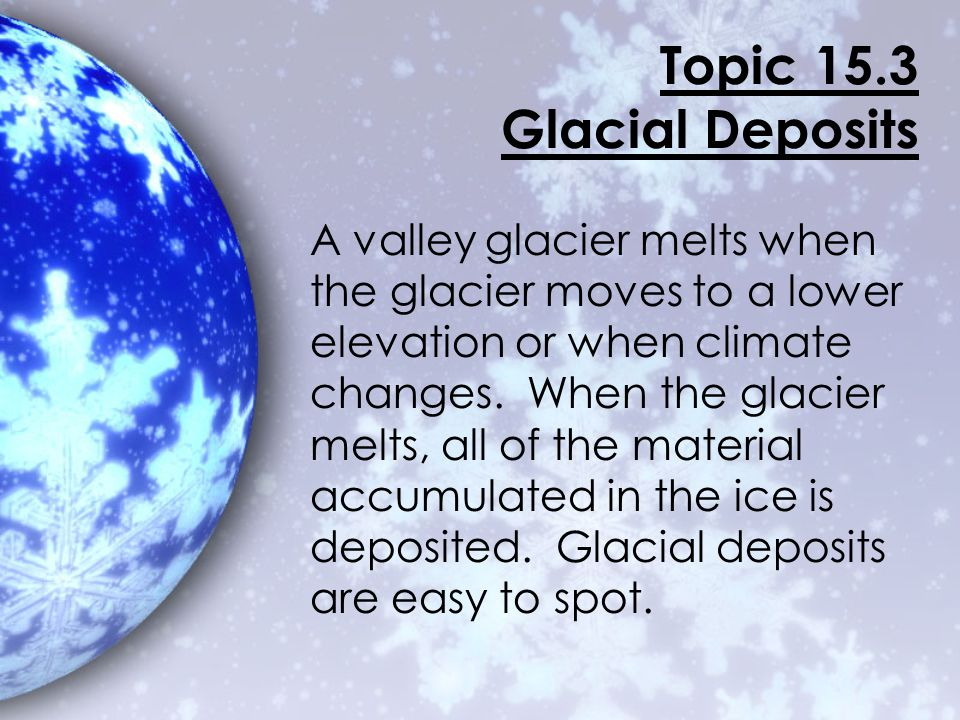 Topic 15.3 Glacial Deposits