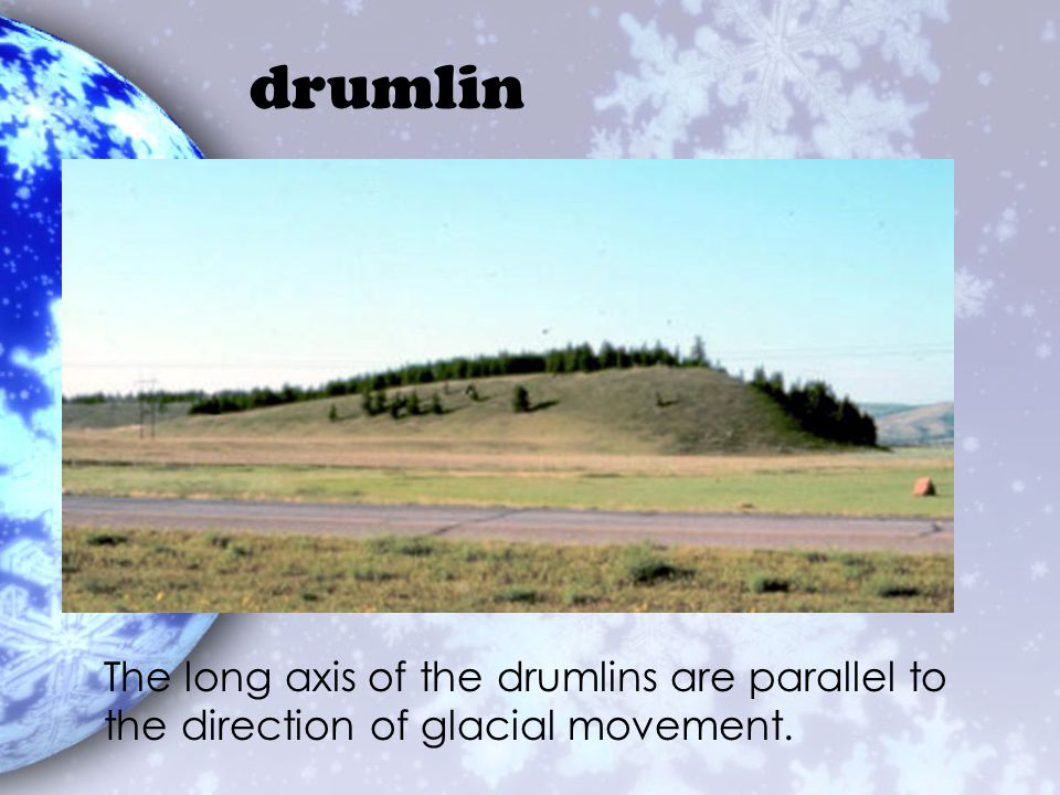 drumlin The long axis of the drumlins are parallel to the direction of glacial movement.