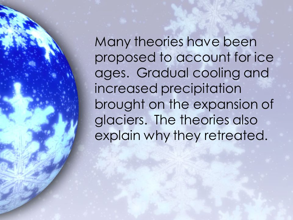 Many theories have been proposed to account for ice ages