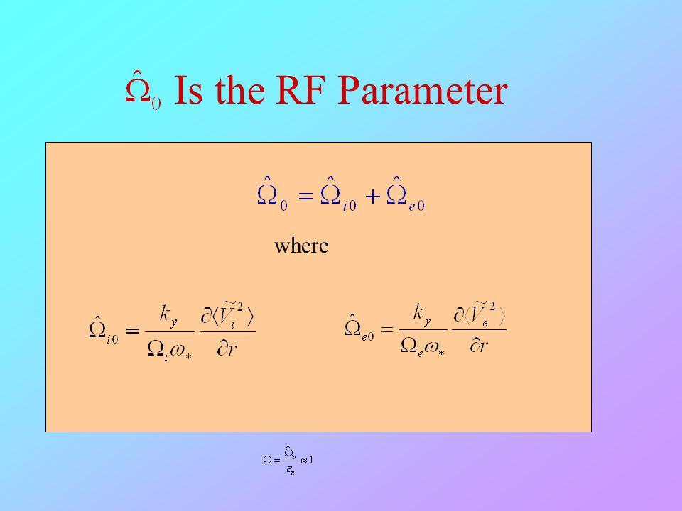 Is the RF Parameter where