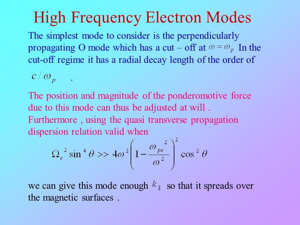 High Frequency Electron Modes