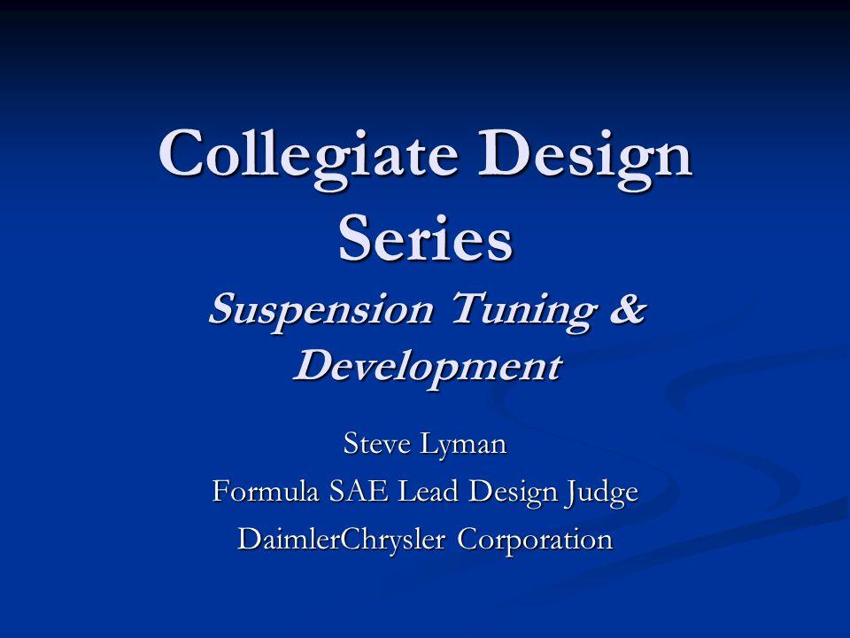 Collegiate Design Series Suspension Tuning & Development