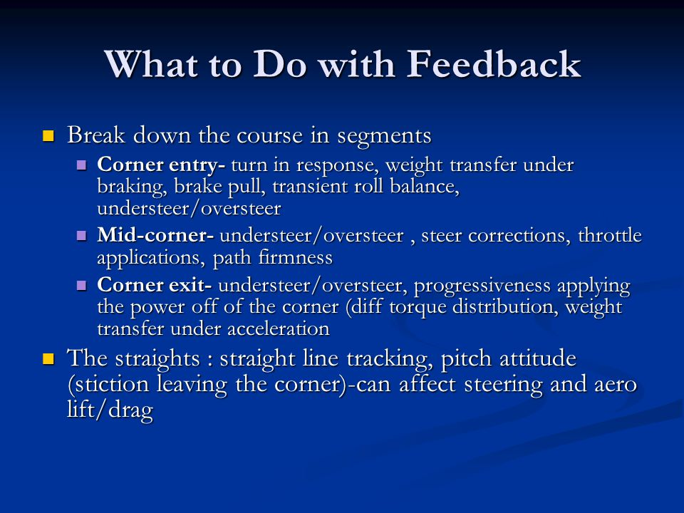 What to Do with Feedback