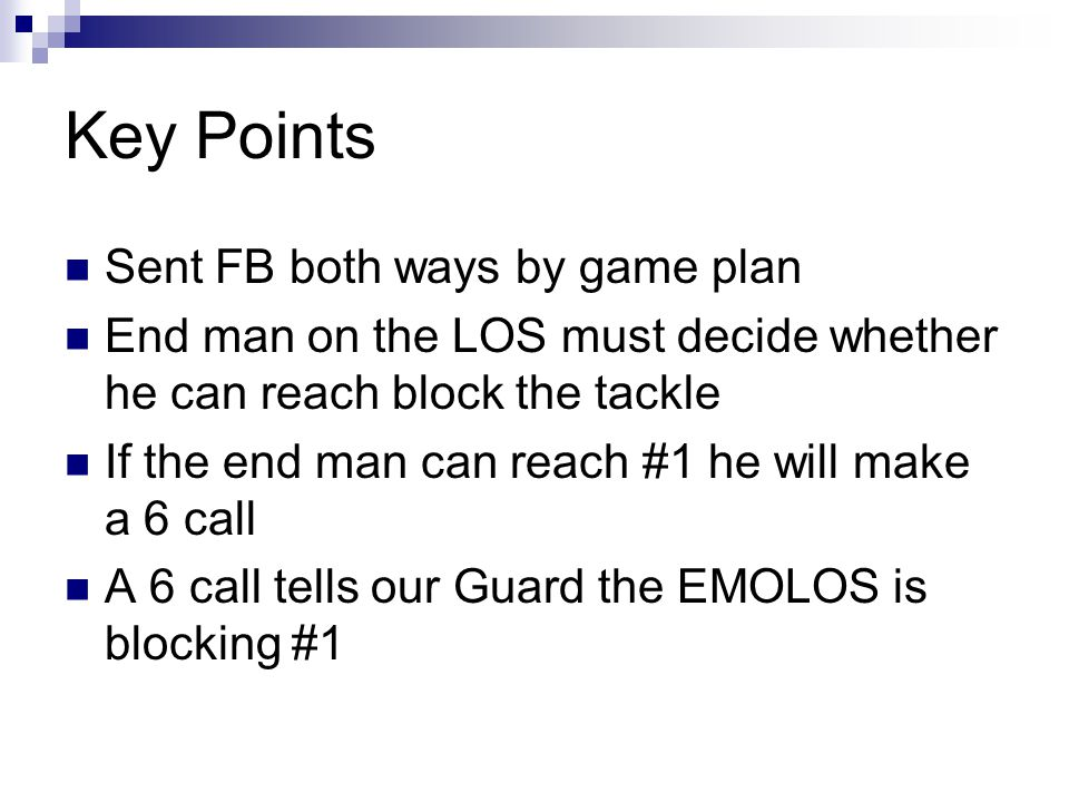 Key Points Sent FB both ways by game plan