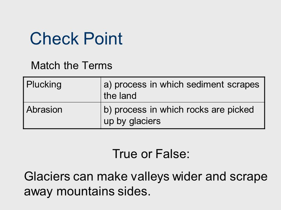 Check Point True or False: