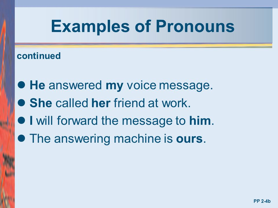 Examples of Pronouns He answered my voice message.