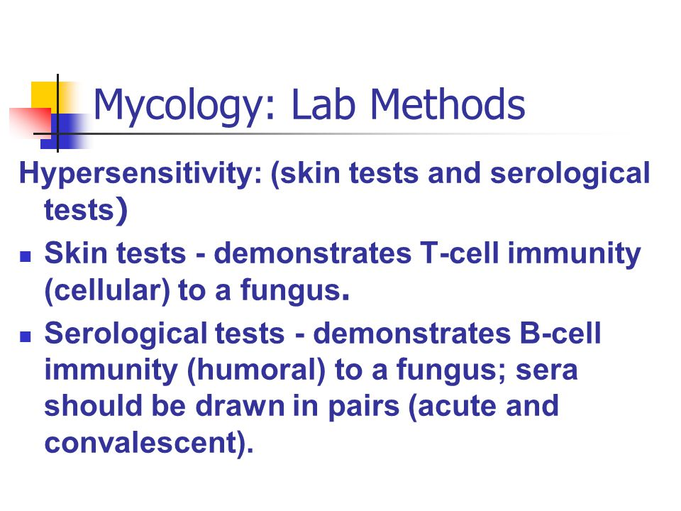 Mycology: Lab Methods Hypersensitivity: (skin tests and serological tests) Skin tests - demonstrates T-cell immunity (cellular) to a fungus.