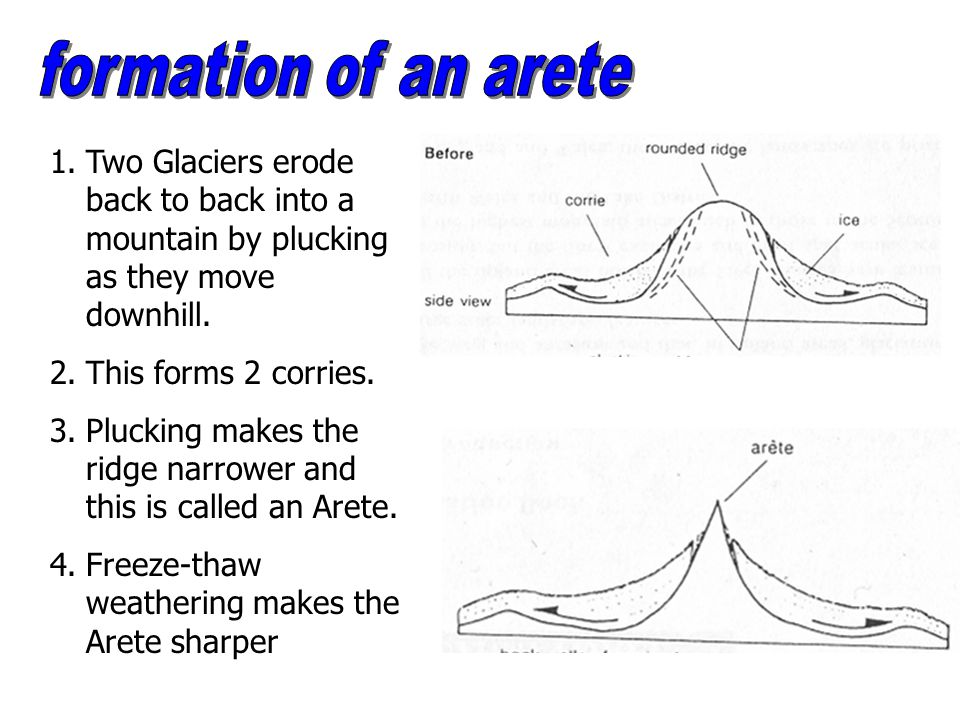 Plucking makes the ridge narrower and this is called an Arete.