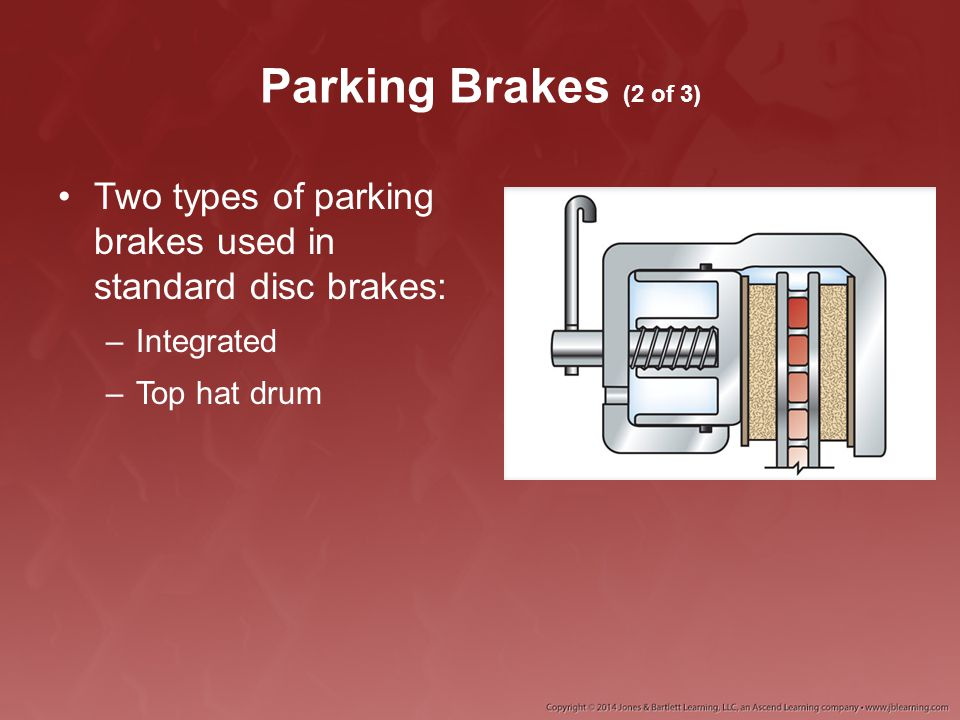 Parking Brakes (2 of 3) Two types of parking brakes used in standard disc brakes: Integrated.