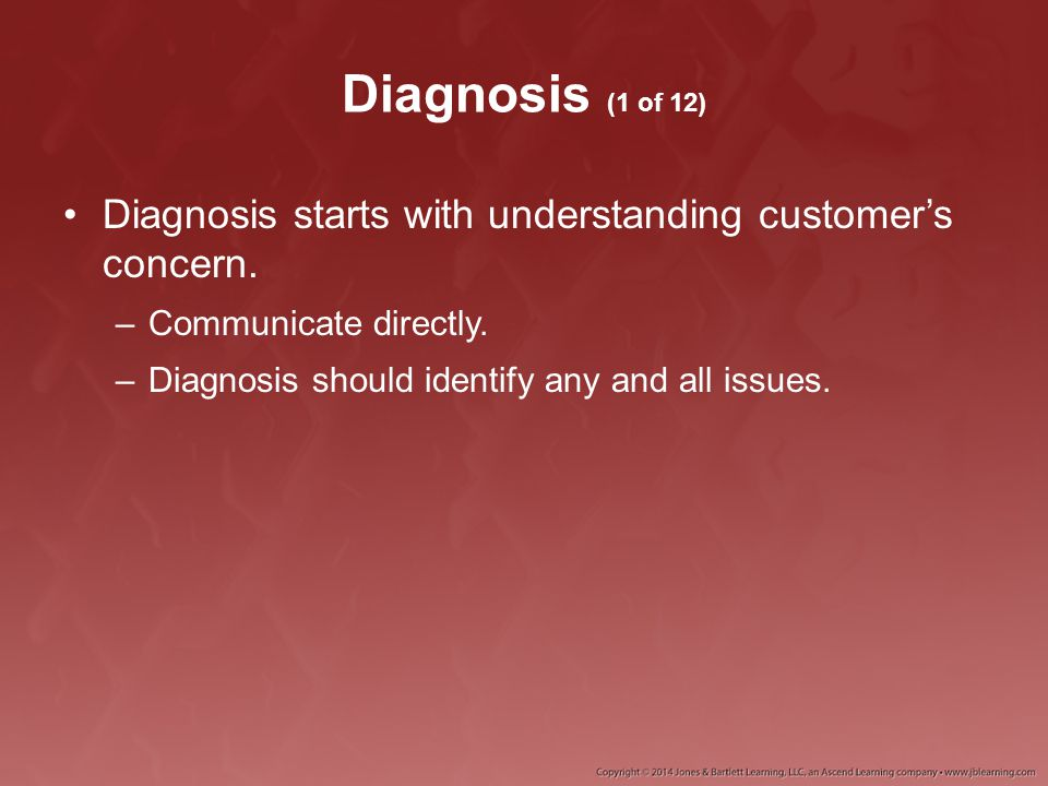 Diagnosis (1 of 12) Diagnosis starts with understanding customer's concern.