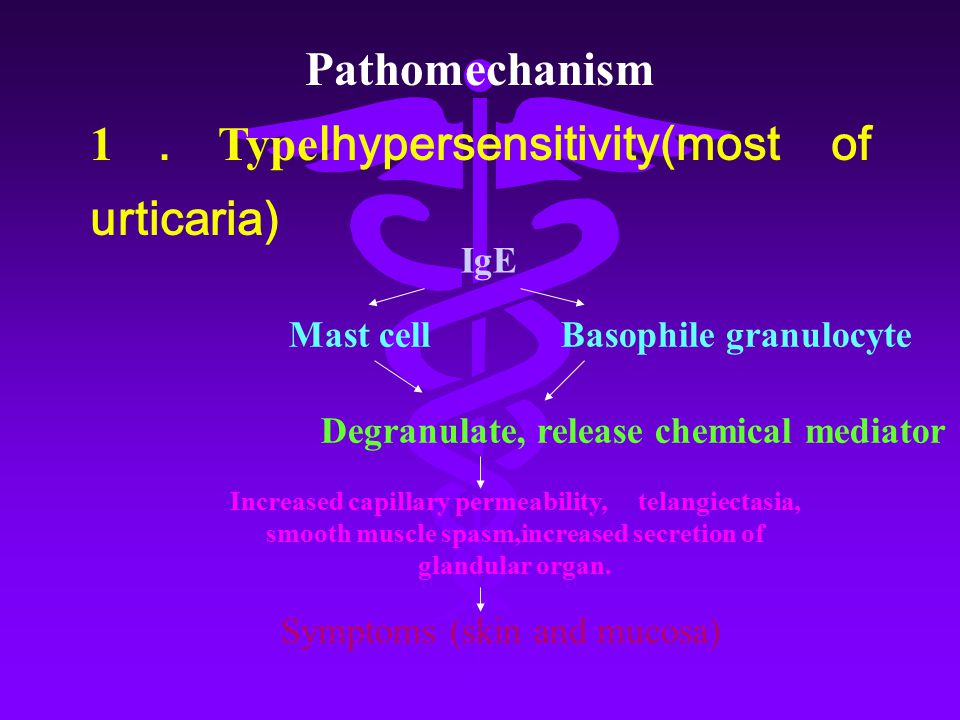 1.TypeⅠhypersensitivity(most of urticaria)