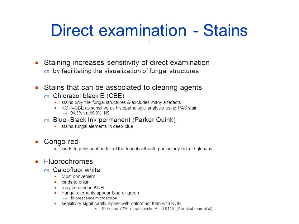 Direct examination - Stains
