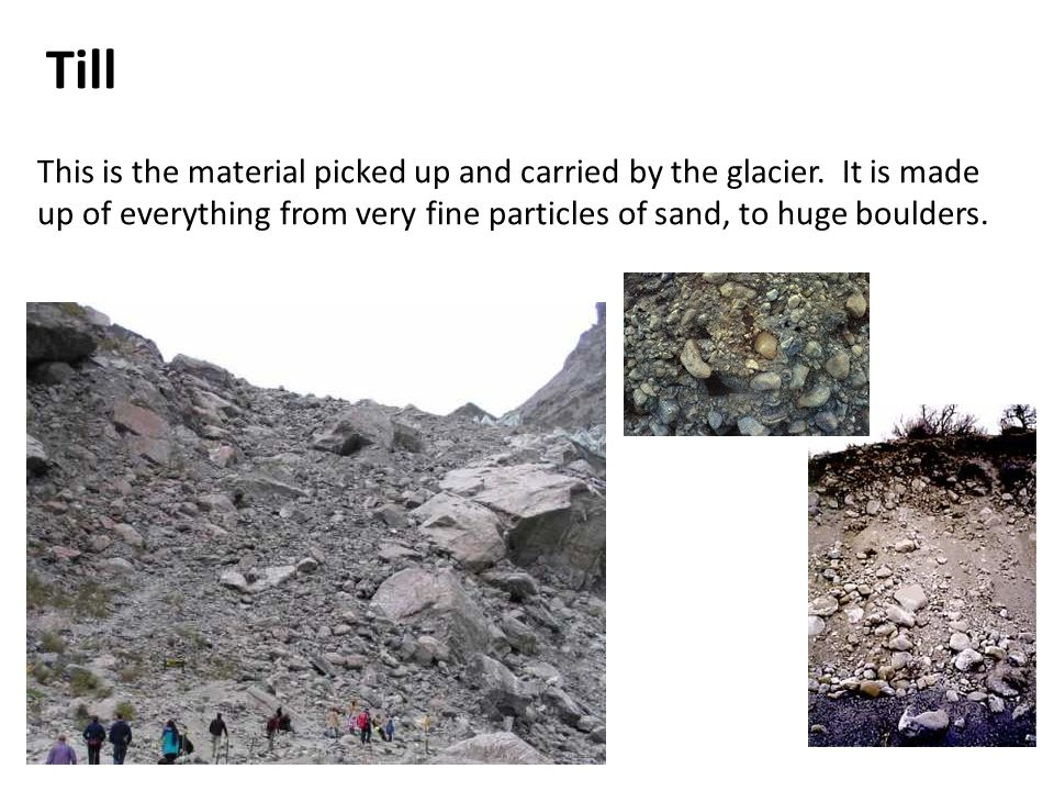 Till This is the material picked up and carried by the glacier.