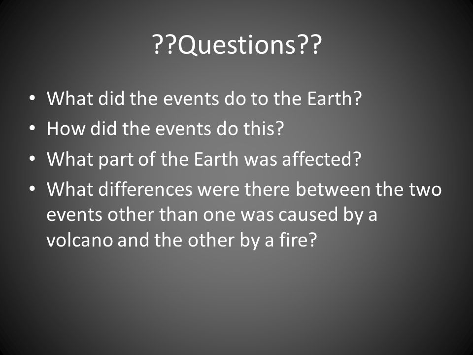 Questions What did the events do to the Earth