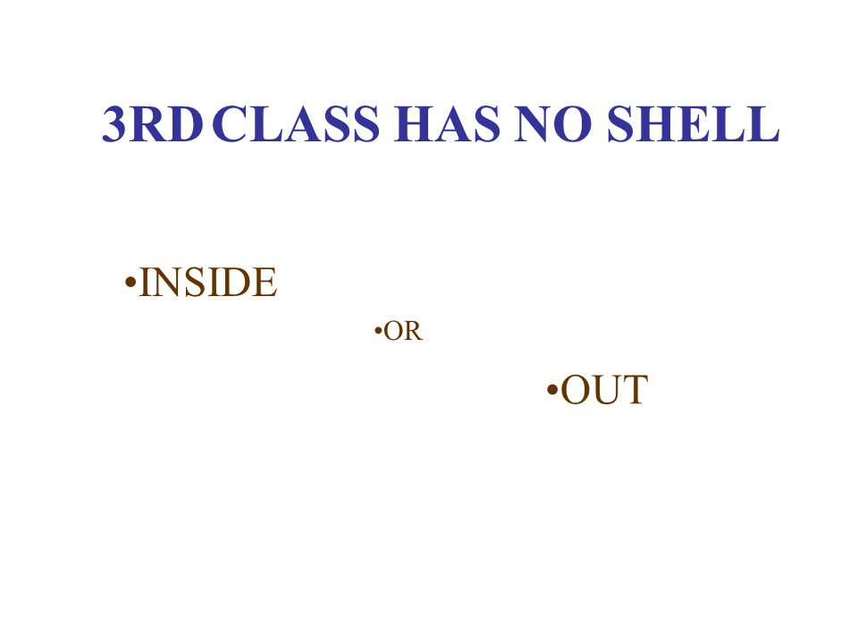 3RD CLASS HAS NO SHELL INSIDE OR OUT