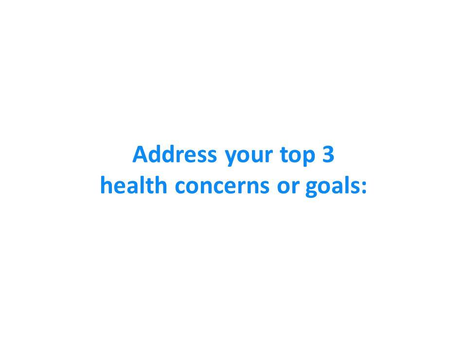 Address your top 3 health concerns or goals: