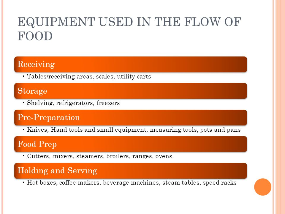 EQUIPMENT USED IN THE FLOW OF FOOD