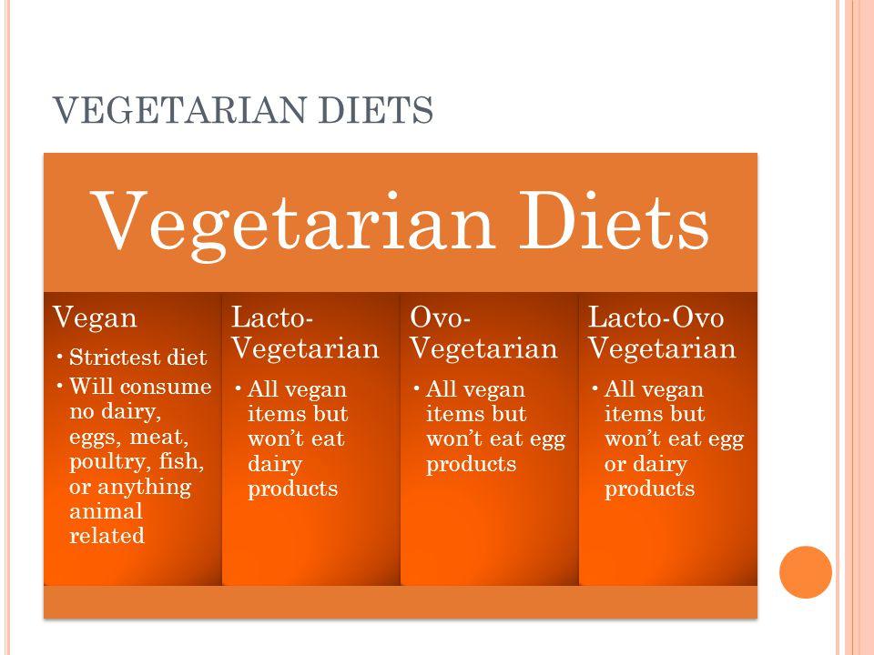 VEGETARIAN DIETS Vegetarian Diets Vegan Strictest diet